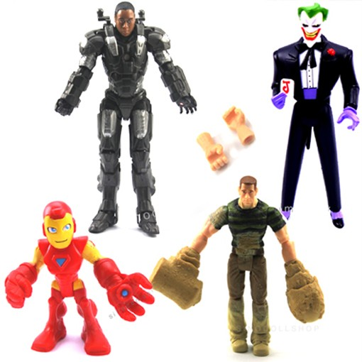 Lot-Marvel-Legends-Black-Red-Iron-Man-Sandman-Dc-Comics-The-Joker-Figure-R87