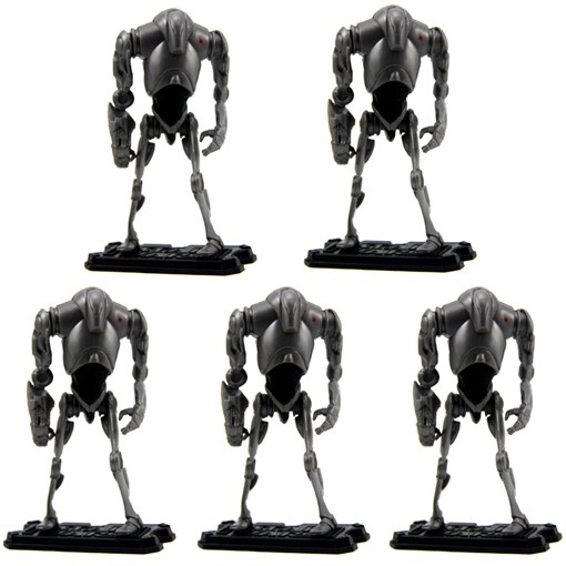 LOT-5-Pcs-STAR-WARS-Super-Battle-Droid-2004-Jedi-Series-Figure-W-5-STAND-S7