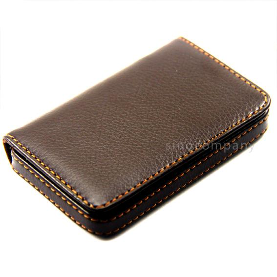 Brown Leather Business Credit ID Card Holder Case Wallet
