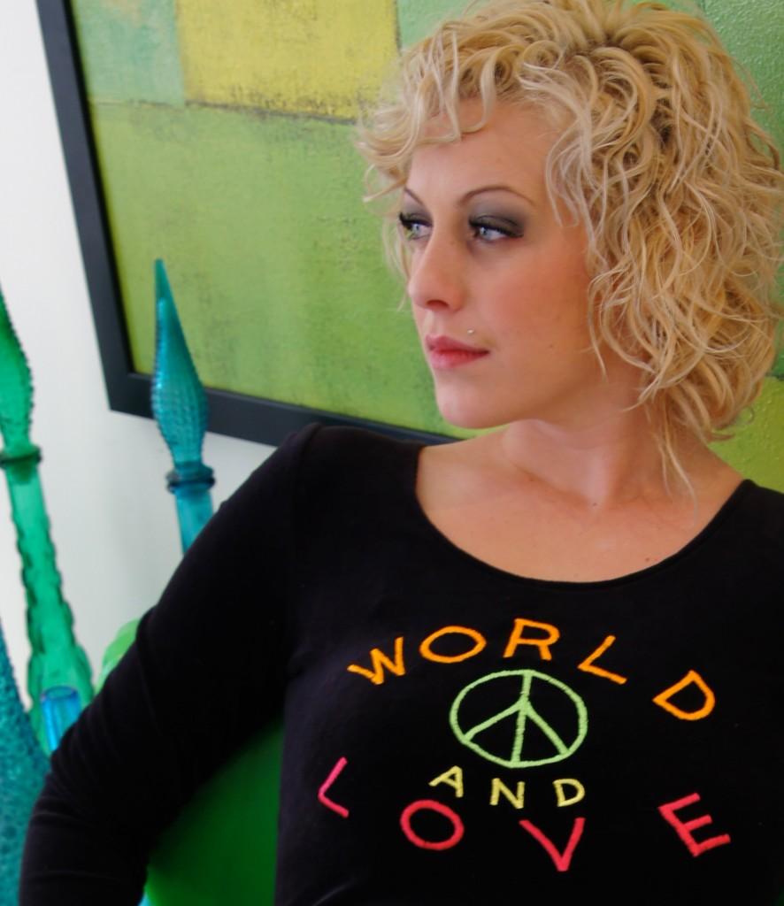 Vintage-LISA-HO-World-PEACE-and-LOVE-vtg-RARE-Black-Micro-MINI-Dress-XS-to-S