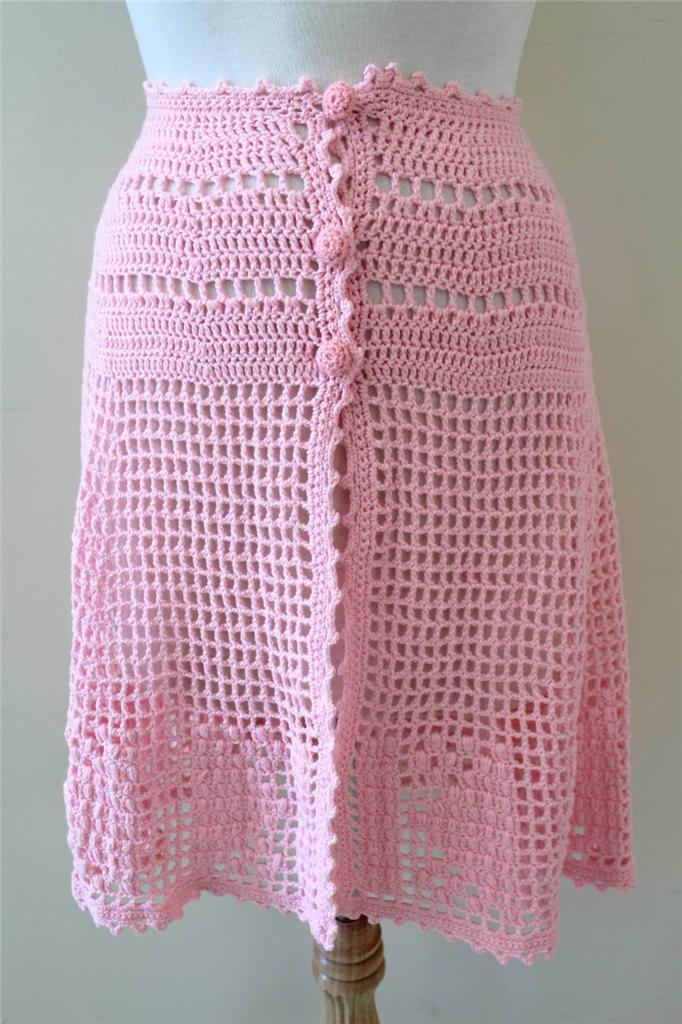 CROCHET-Baby-PINK-Vintage-80s-Hand-Made-BOHO-SHEER-Beach-PARTY-Dress-XXS-to-S