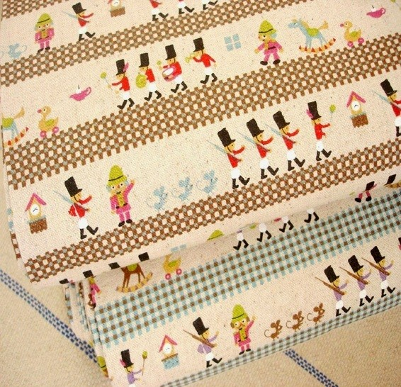Lovely vintage marching band toy soldiers retro kids linen for Retro kids fabric
