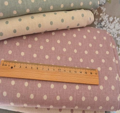 Japanese Green Purple Polka Dot Spotty Natural Linen Cotton Fabric 50x45cm