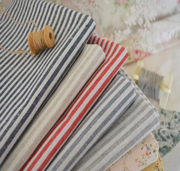 Chic Blue Beige Cotton Linen Plaid Curtains For Boys Bedroom: Cottage Shabby Chic Red Beige Gray Stripe Ticking Cotton