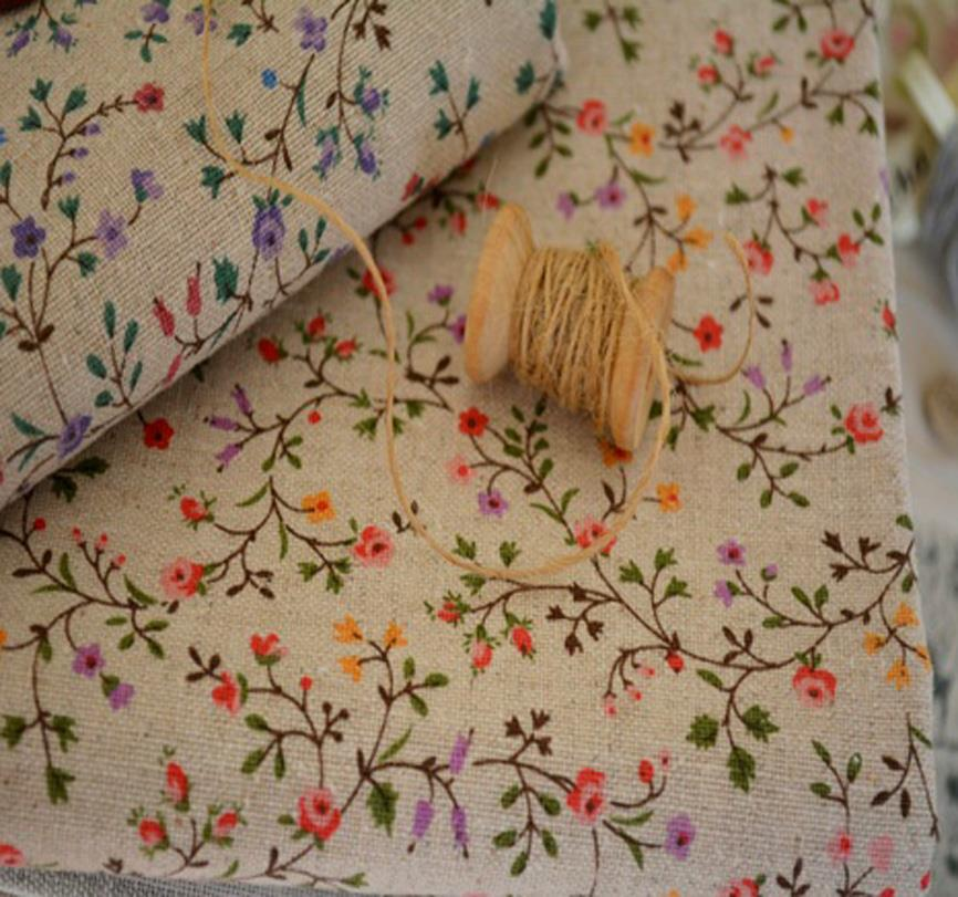 Cottage Tiny Purple RedCountry Wild Flowers Linen Blend Fabric Primitive FQ