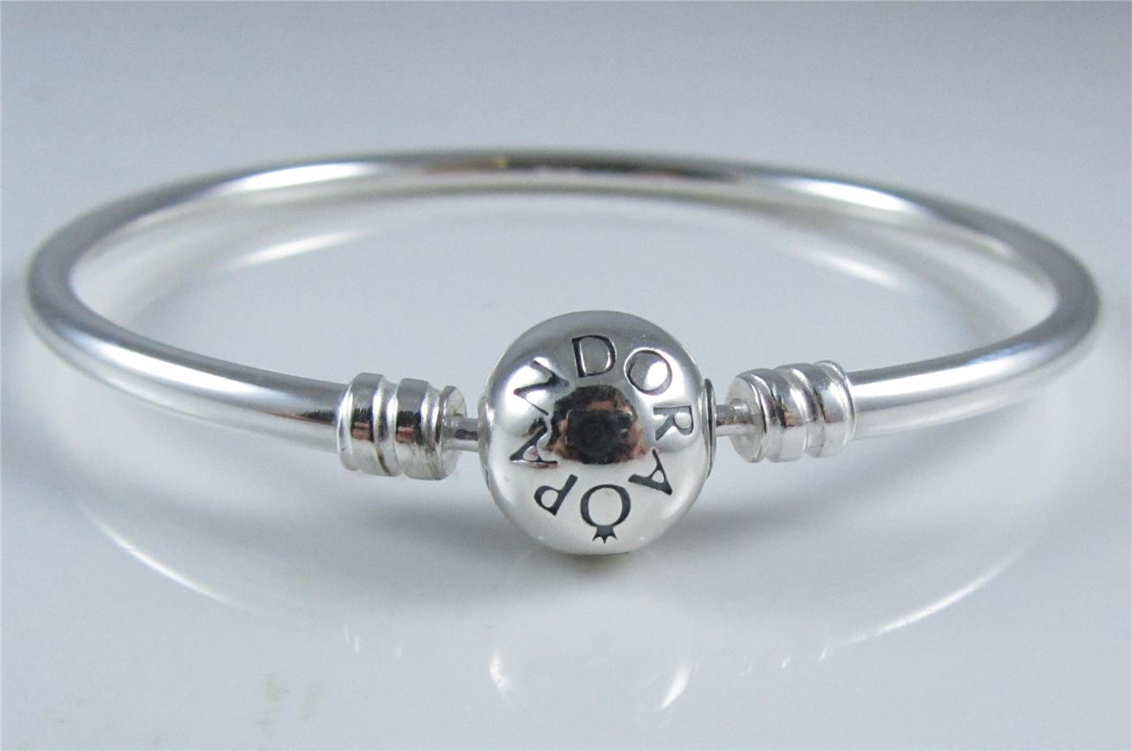 Genuine authentic pandora sterling silver bangle bracelet for How much does pandora jewelry pay