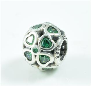 authentic genuine pandora silver green lucky clover charm