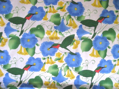 Blue Yellow Floral Morning Glory Hummingbird Vine Sew