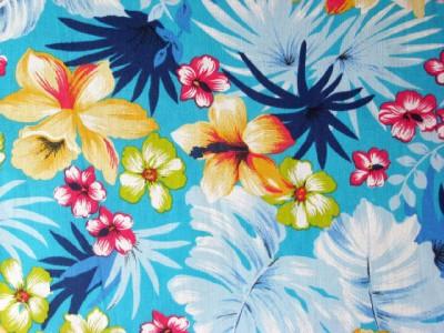 Details About AQUA BLUE HAWAIIAN FLORAL ISLAND TROPICS SEW FABRIC BTY