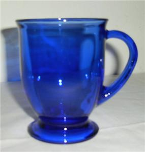 Cobalt Blue Anchor Hockiing Large Glass Coffee Mug