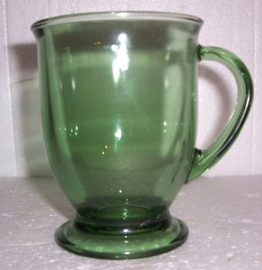 Anchor Hocking Green Color Large Glass Coffee Mug