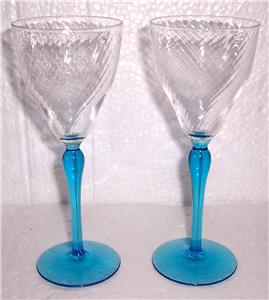 Vintage Crystal Serene Blue Handblown Stem Wine Glasses