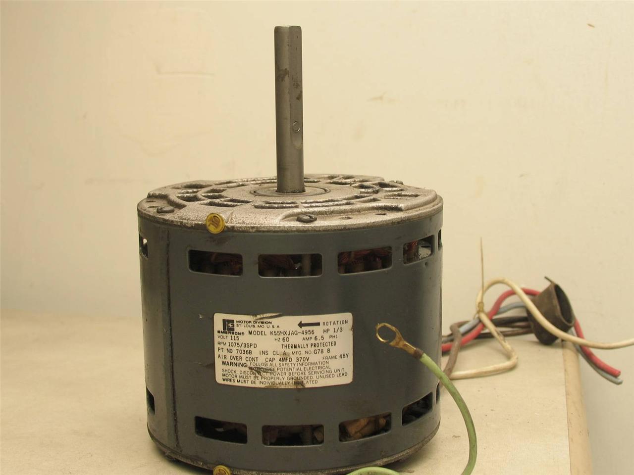 Emerson k55hxjag 4956 furnace blower motor 1 3 hp 1075 rpm for 1 hp blower motor