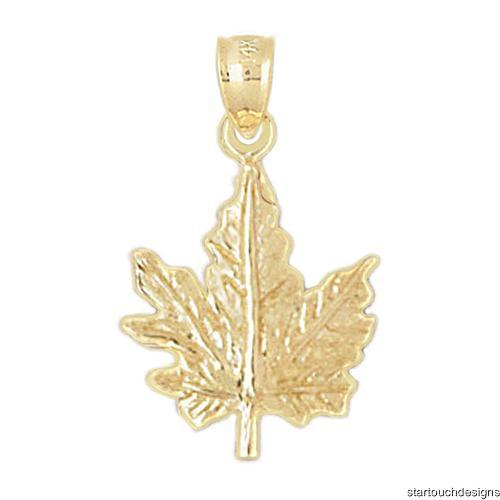 new 14k yellow gold maple leaf pendant ebay