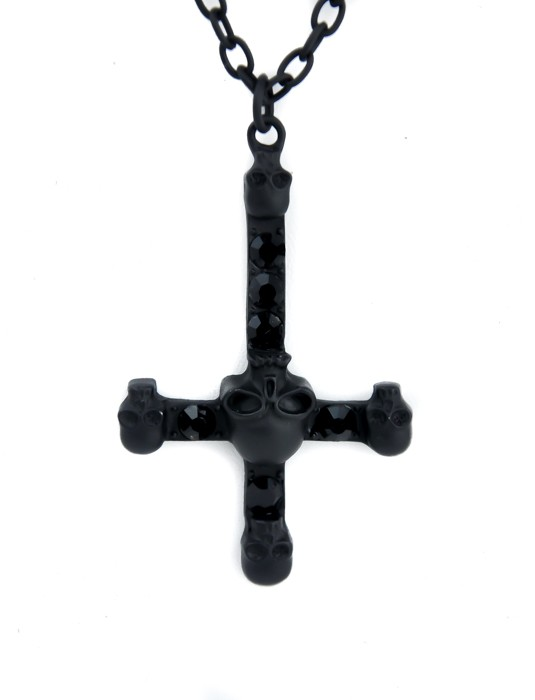 black inverted cross necklace with skull center deathrock