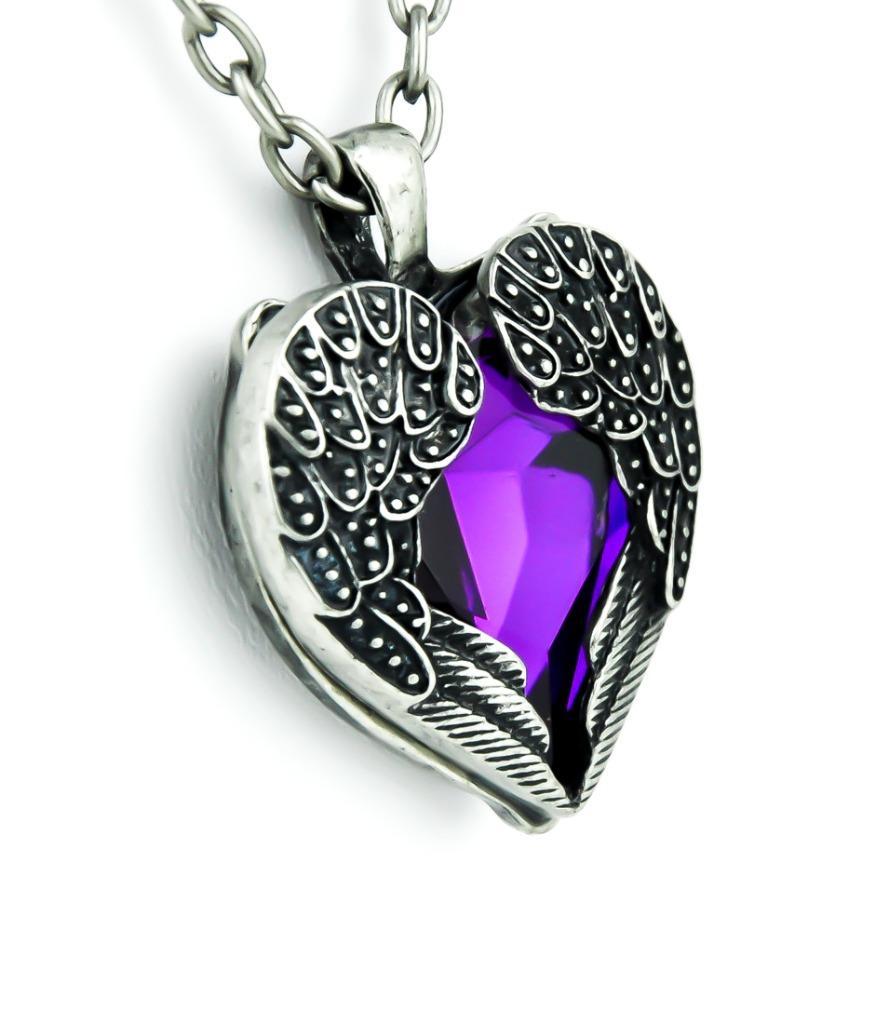 purple stone fallen dark angel wings heart necklace. Black Bedroom Furniture Sets. Home Design Ideas