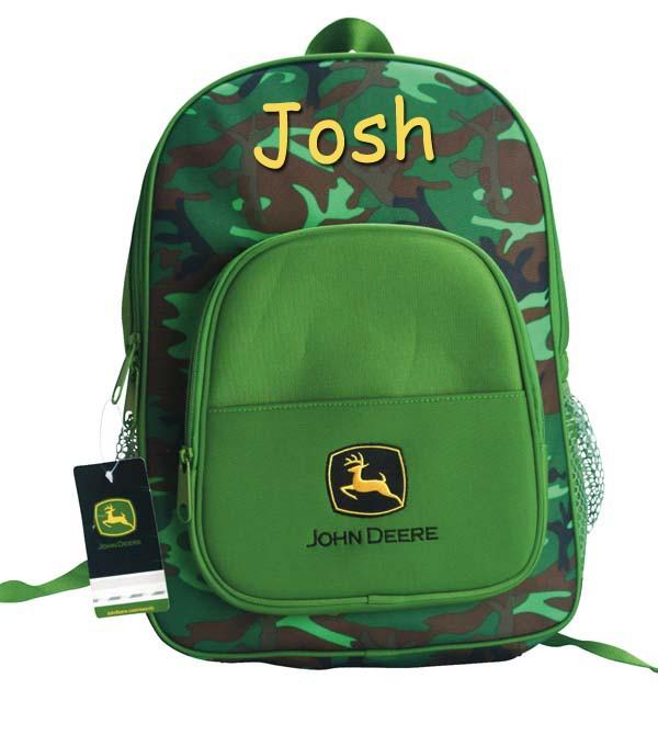 personalized john deere backpack green camo use as diaper bag custom name ebay. Black Bedroom Furniture Sets. Home Design Ideas