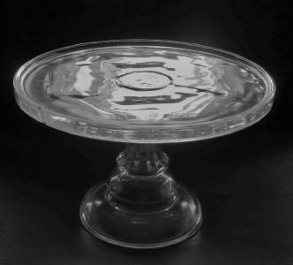EAPG Model Flint Glass Pedestal Cake Stand Mitred Prism