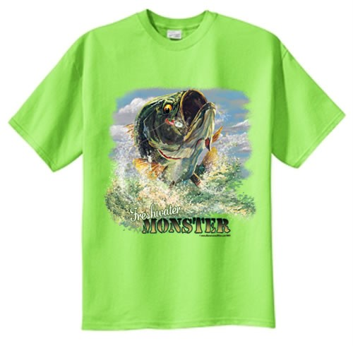 Tall freshwater monster largemouth bass fishing t shirt for Bass fishing shirt