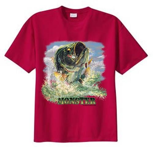 Tall freshwater monster largemouth bass fishing t shirt for Mens xlt t shirts