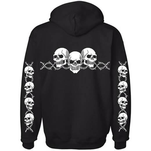 Barbed Wire Skull Hoodie with sleeves Biker Hooded Sweatshirt S--5x