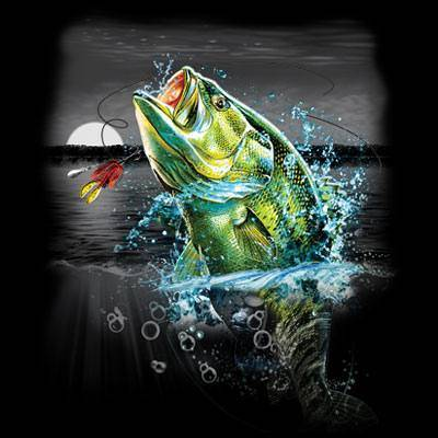 Jumping bass fishing sweatshirt wilderness night moon ebay for Bass fish slippers
