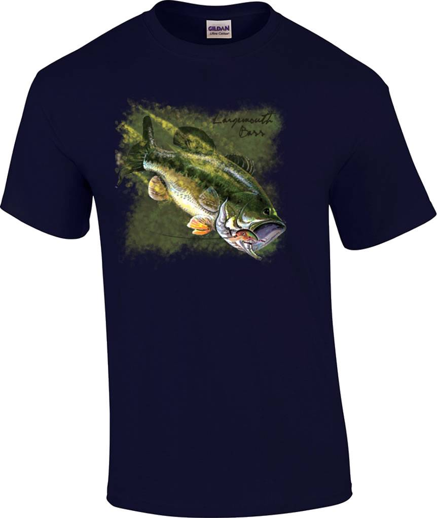 largemouth bass fishing fisherman lure t shirt ebay ForBass Fishing Shirt