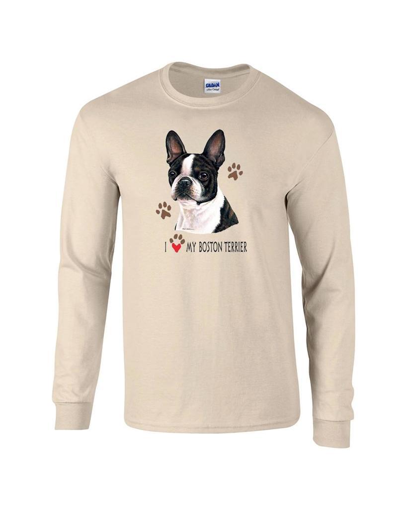 I love my boston terrier long sleeve dog t shirt ebay for Boston rescue 2 t shirt