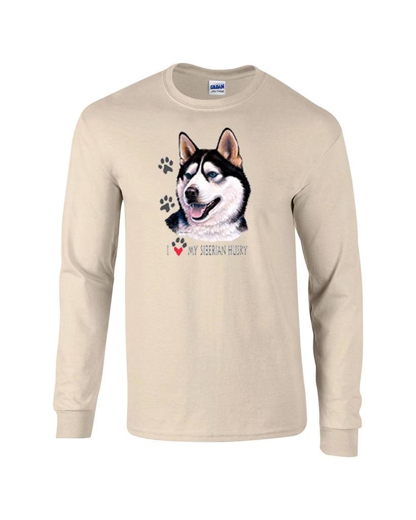 I love my siberian husky long sleeve dog t shirt ebay for Custom dog face t shirt