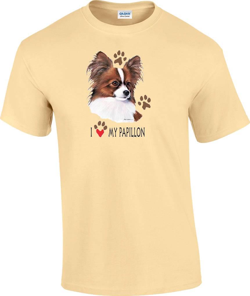I Love My Papillon Dog T Shirt