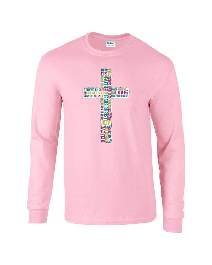 Religious Christian Word Cross Faith Jesus Christ Long Sleeve T ...