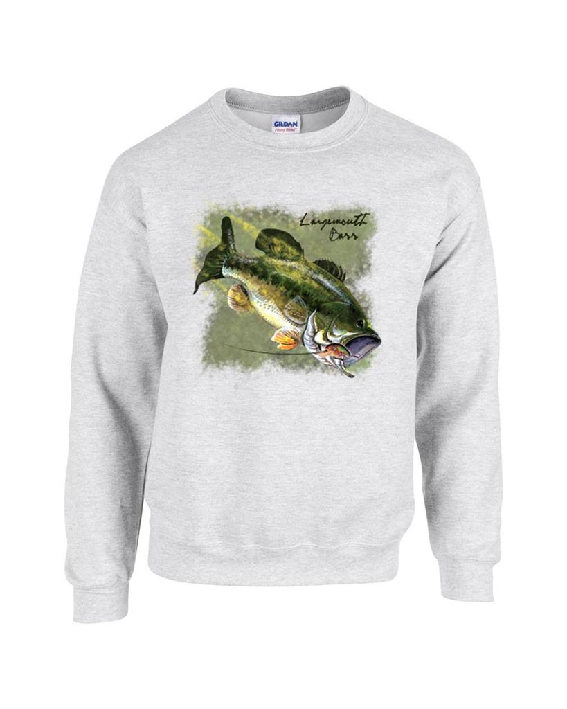Largemouth bass fishing fisherman crewneck sweatshirt ebay for Bass fishing hoodies