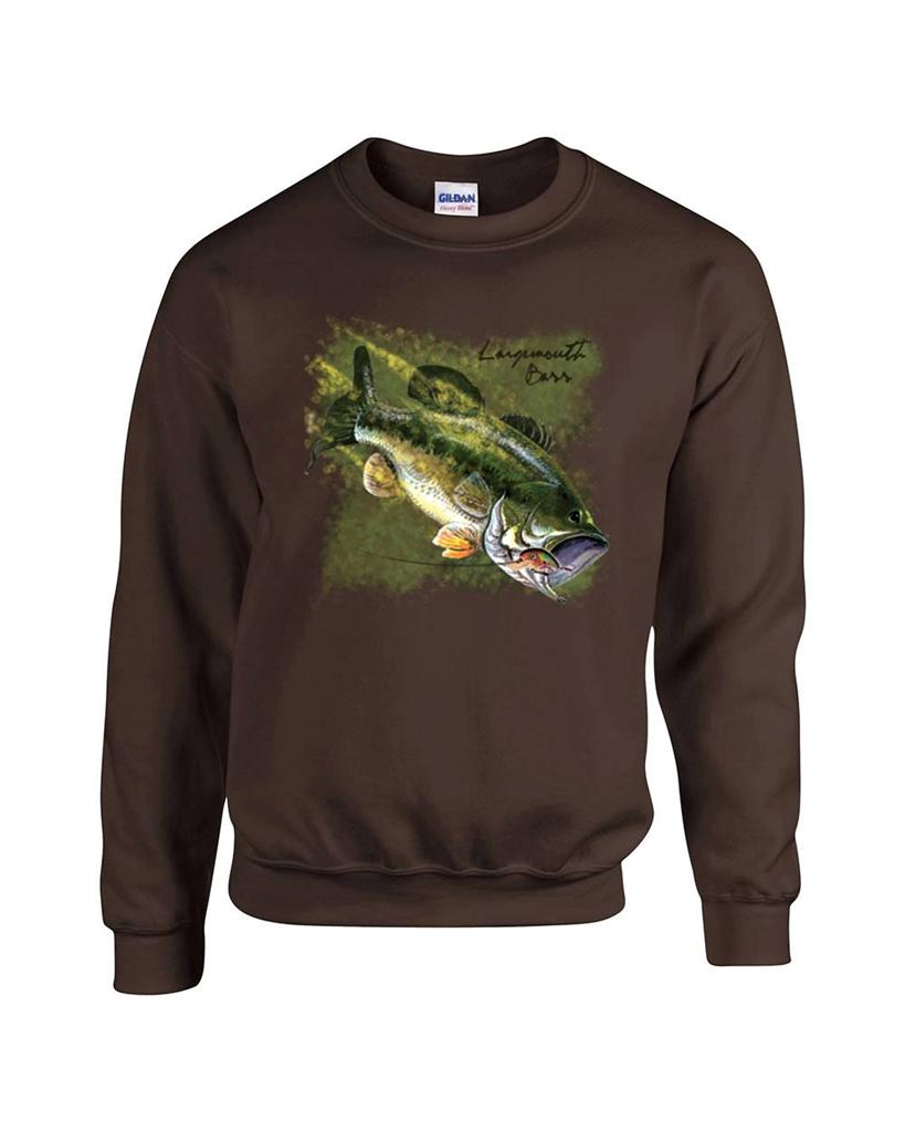 largemouth bass fishing fisherman crewneck sweatshirt ebay
