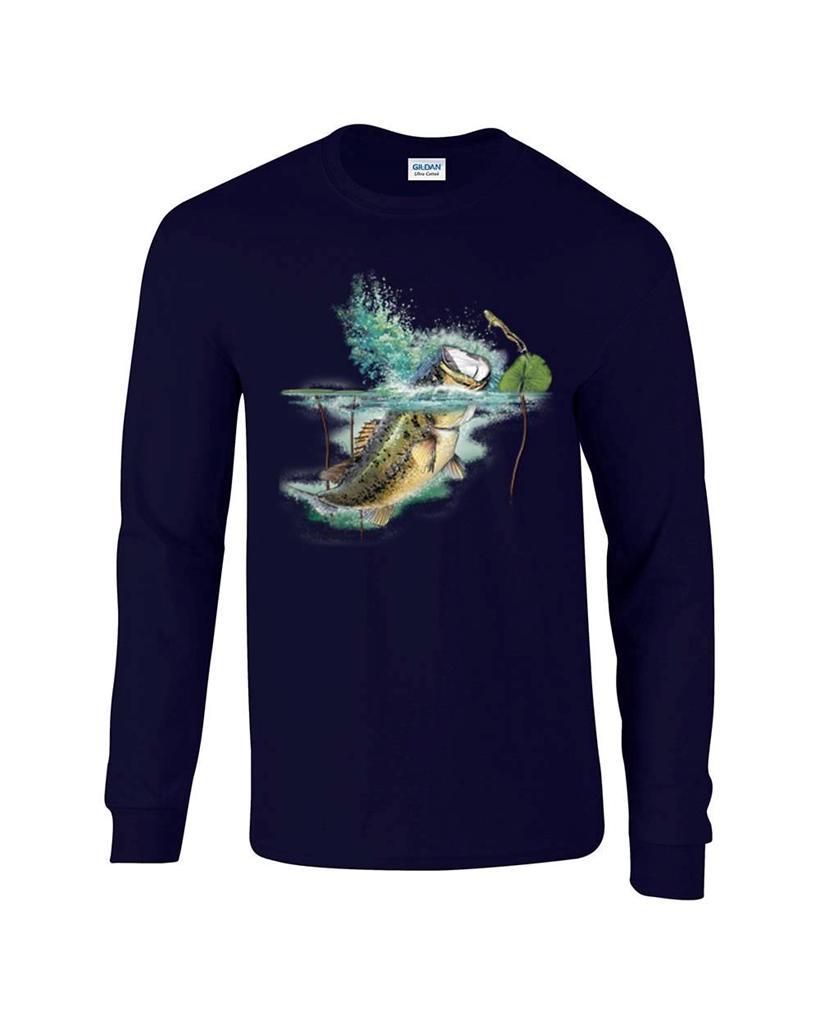 Largemouth lambert bass fishing fisherman long sleeve t for Fishing long sleeve shirts