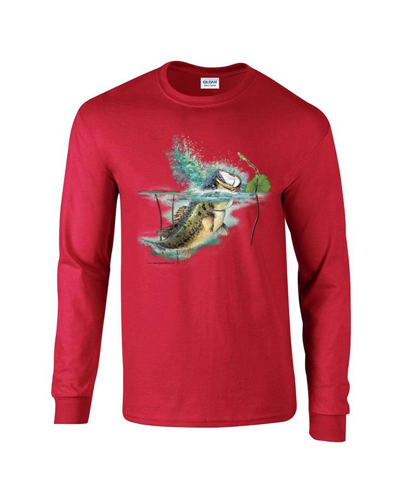 Largemouth lambert bass fishing fisherman long sleeve t for Long sleeve fishing t shirts