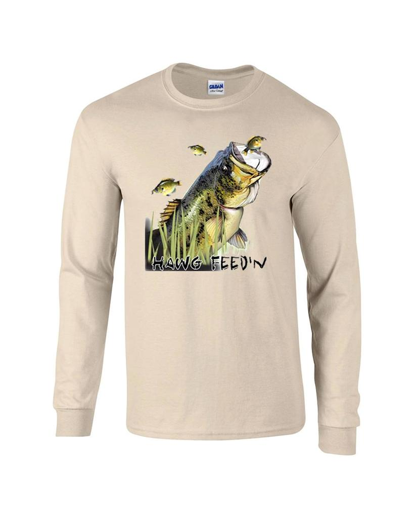 Largemouth bass lure fishing fisherman long sleeve t shirt for Long sleeve fishing t shirts