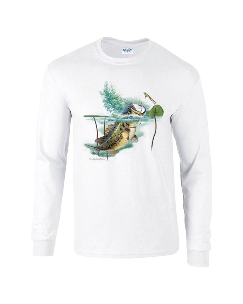 Largemouth lambert bass fishing fisherman long sleeve t for Bass fishing shirt