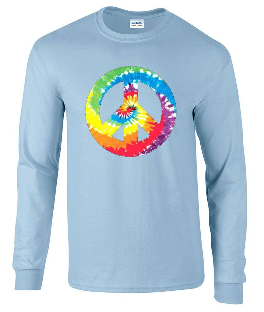 Tie Dye Peace Sign 60 39 S 70 39 S Hippie Long Sleeve T Shirt