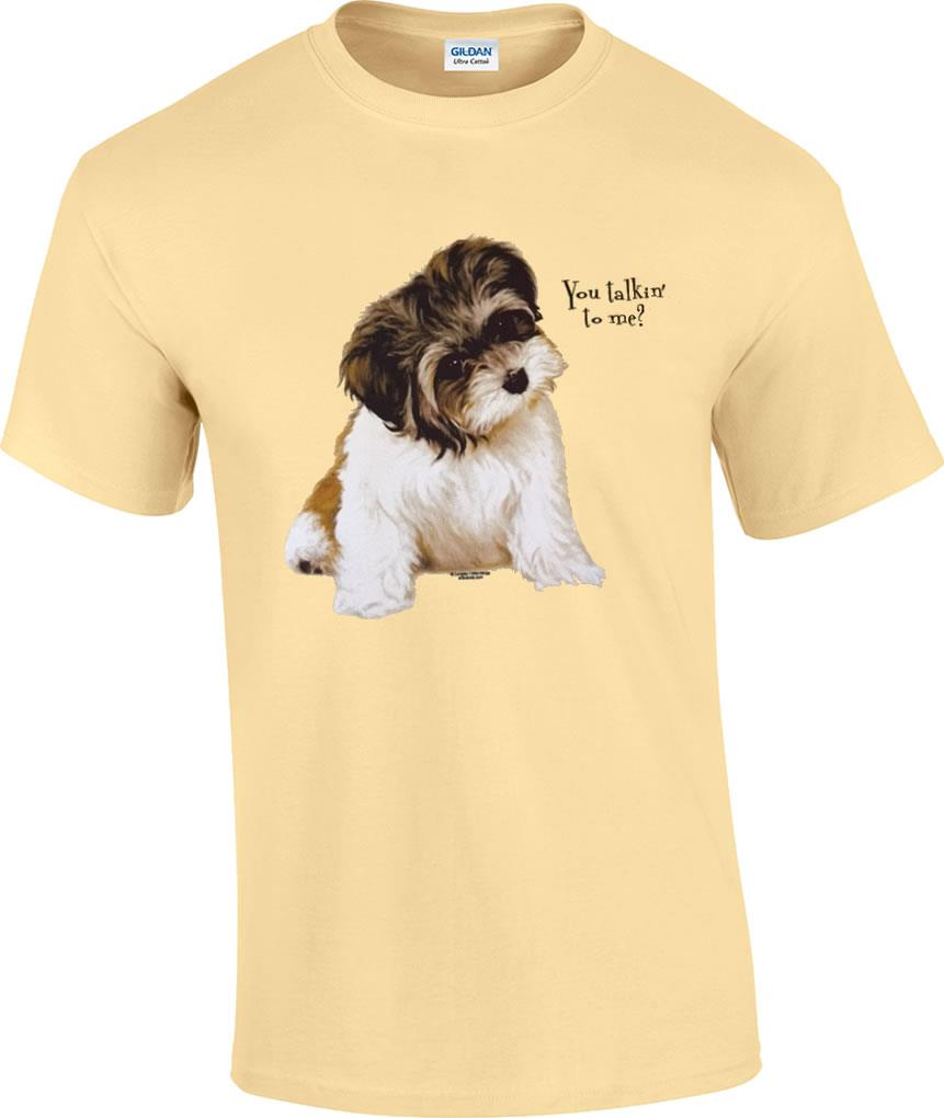 You talkin 39 to me shih tzu puppy dog t shirt ebay for Dog t shirt for after surgery