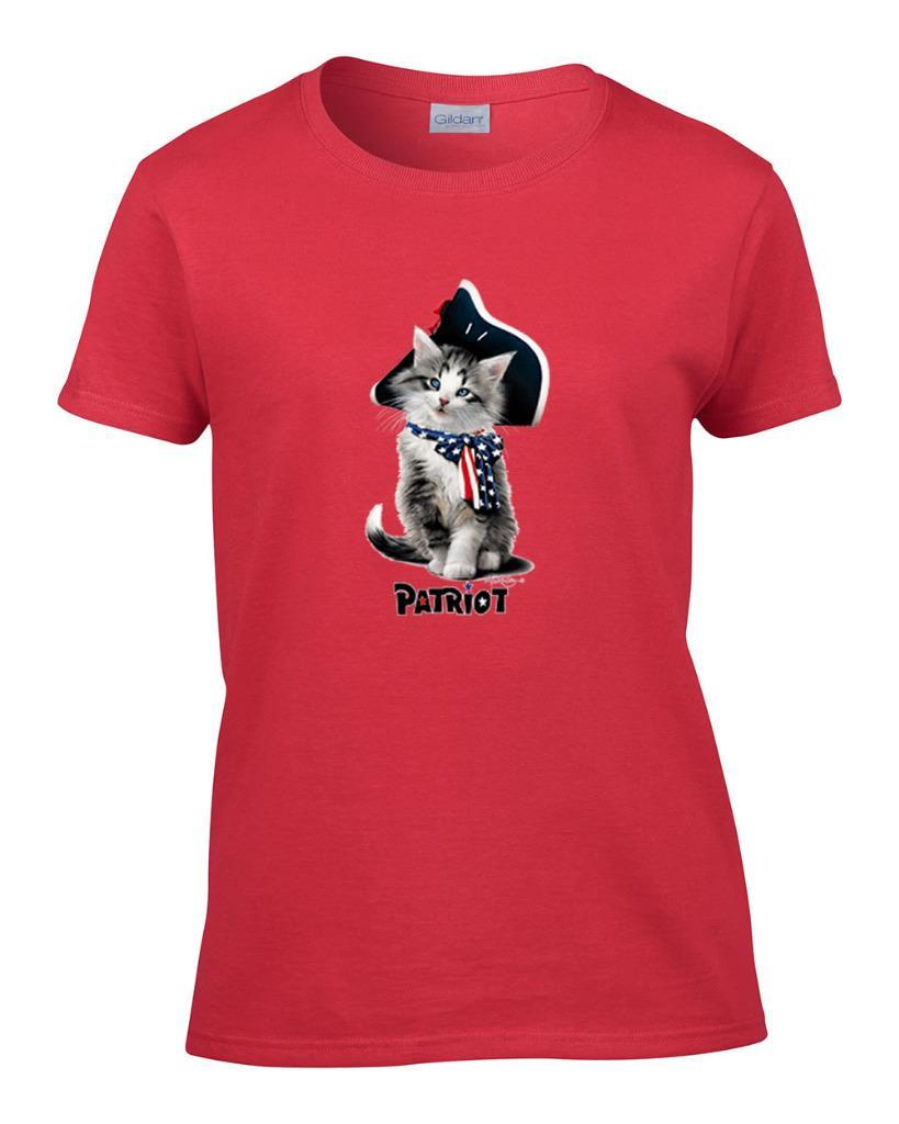 Ladies cute patriot flag cat patriotic kitty kitten women for Patriots t shirts for women