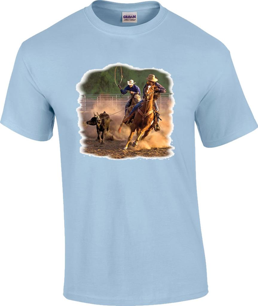 Calf roping on the ranch rodeo cowboys horse t shirt ebay for Ranch dress n rodeo shirts