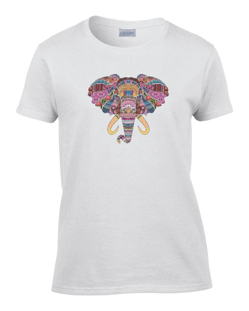 Ladies mosaic elephant safari wildlife women 39 s t shirt ebay for Elephant t shirt women s