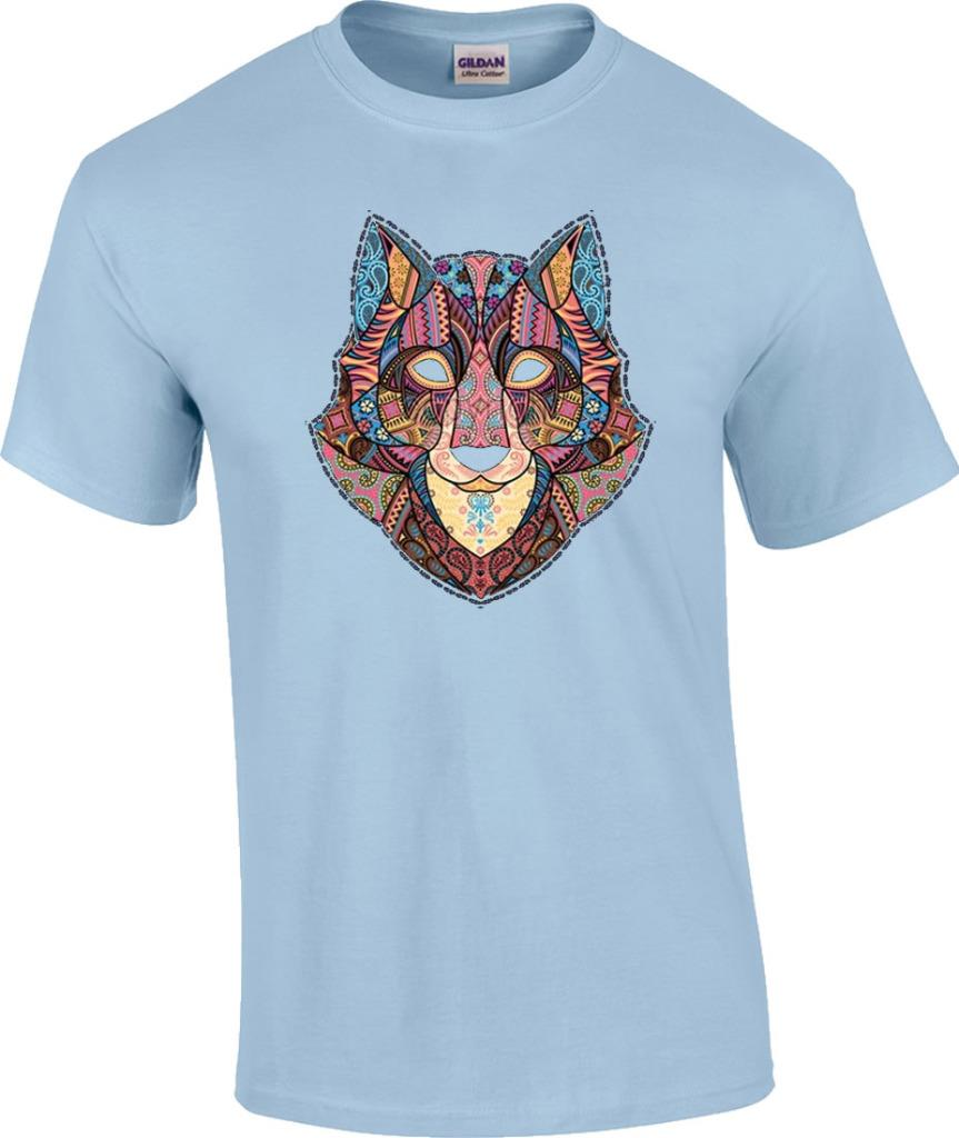 mosaic wolf wildlife wolves t shirt ebay. Black Bedroom Furniture Sets. Home Design Ideas