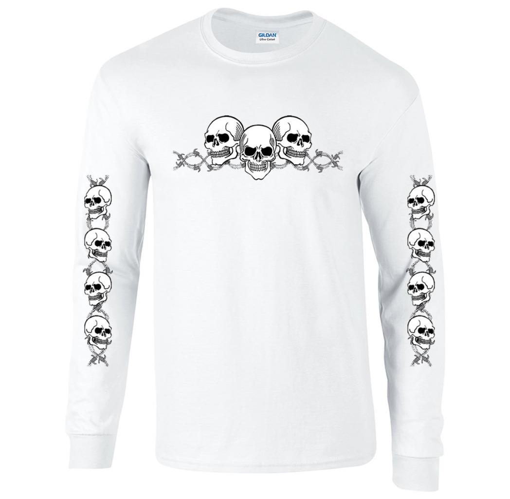 Barbed Wire Skulls with Sleeves Long Sleeve Biker T-Shirt | eBay