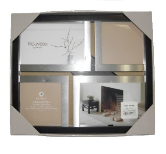 Nouveau Burnes Collage Dark Brown Wood Silver Picture Photo Frame w D