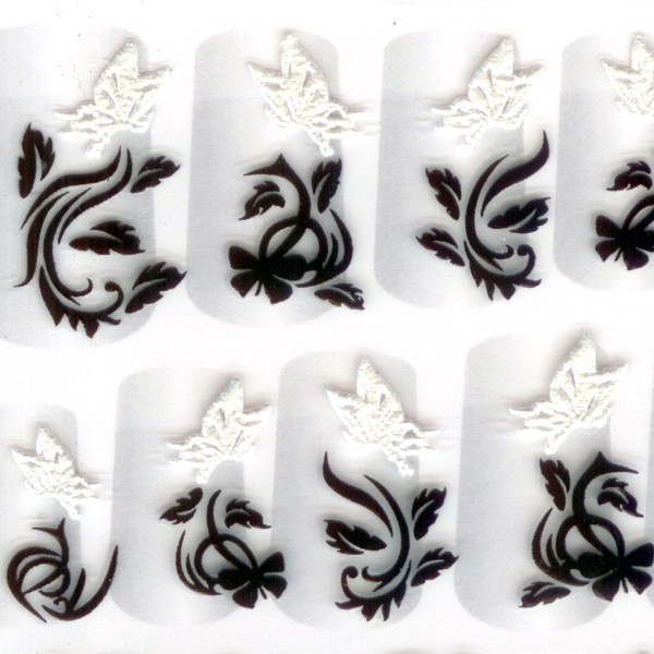 Black White Cotton Nail Art 3D Stickers Decals 09