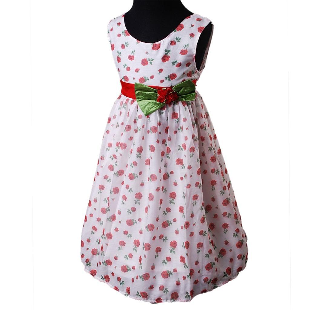 wei rosa blumen muster kleid kommunionskleid abendkleid rmellos kleid d328 ebay. Black Bedroom Furniture Sets. Home Design Ideas