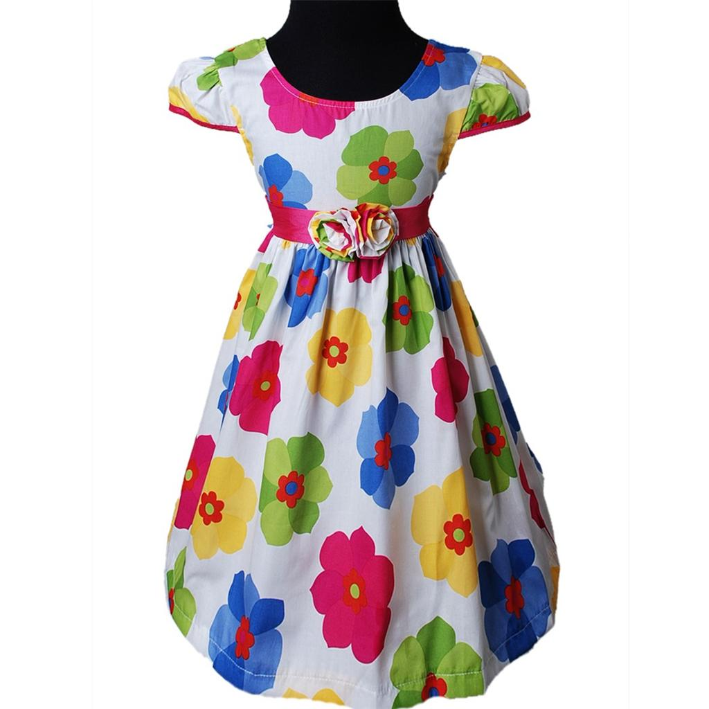 Maedchen-Sommer-Festlich-Blumen-Abendkleid-Kommunion-kleid-Festkleid-Haarreifen
