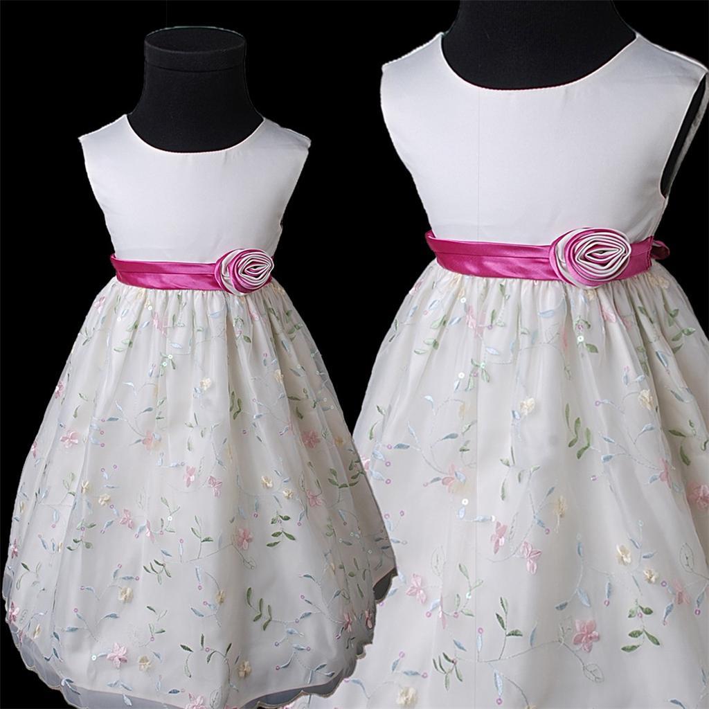 KD368 Ivory Blumenmädchen Gestickte Hochzeit Partei Festzug Kleid Gr ...
