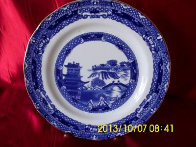 details about ringtons blue white willow pattern dinner plate